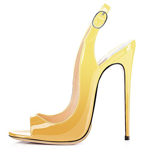 Modemoven-Womens-Yellow-Black-Patent-Leather-PumpsPeep-Toe-HeelsSlingback-SandalsEvening-ShoesCute-Stilettos-10-M-US-0-0