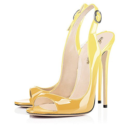Modemoven-Womens-Yellow-Black-Patent-Leather-PumpsPeep-Toe-HeelsSlingback-SandalsEvening-ShoesCute-Stilettos-10-M-US-0-1