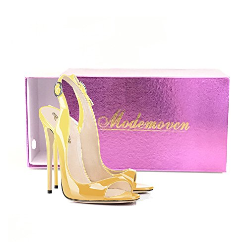 Modemoven-Womens-Yellow-Black-Patent-Leather-PumpsPeep-Toe-HeelsSlingback-SandalsEvening-ShoesCute-Stilettos-10-M-US-0-5