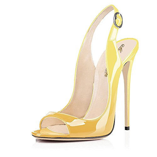 Modemoven-Womens-Yellow-Black-Patent-Leather-PumpsPeep-Toe-HeelsSlingback-SandalsEvening-ShoesCute-Stilettos-10-M-US-0