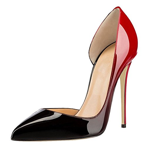 Women-Classic-Dorsay-Pointed-Toe-High-Heels-Patent-Leather-Stiletto-Pumps-Black-to-Red-Size-10-0