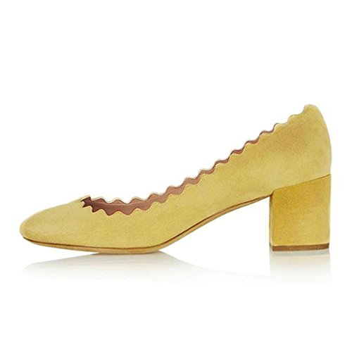 Women-Come-hither-Supersharp-Sophisticated-Pointed-Toe-Heeled-Stiletto-Pumps-Yellow-Size-11-0-0