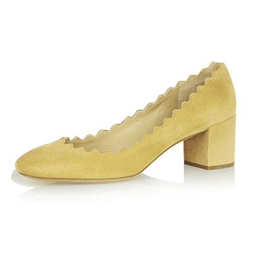 Women-Come-hither-Supersharp-Sophisticated-Pointed-Toe-Heeled-Stiletto-Pumps-Yellow-Size-11-0