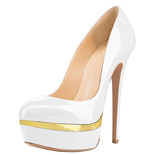 Women-Double-Platform-Pumps-Closed-Toe-Stiletto-High-Heels-Dress-Shoes-0
