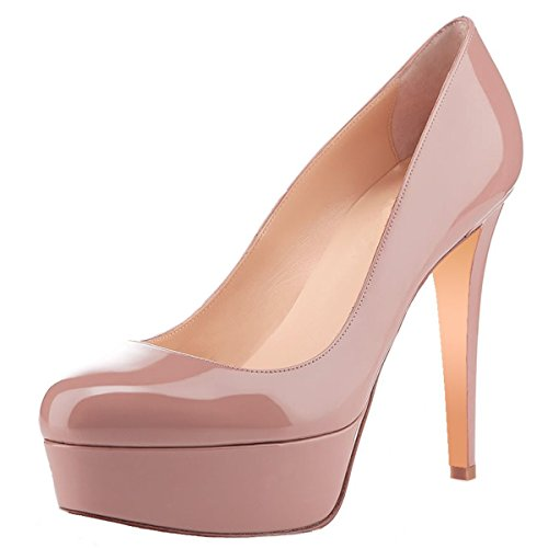 Women-Fashion-Closed-Toe-Platform-High-Heel-Stiletto-Patent-Leather-Dress-Pumps-Dark-Nude-Size-15-0