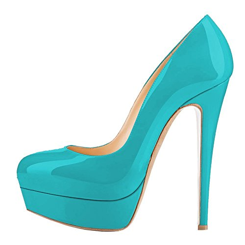 Women-Patent-Leather-High-Heels-Shoes-Closed-Toe-Platform-Stiletto-Pumps-Green-Size-10-0