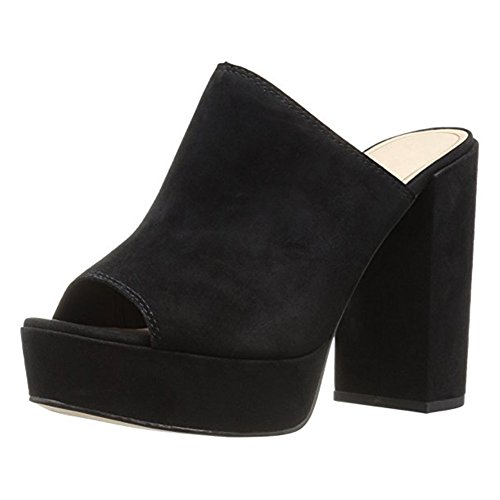 Women-Peep-Toe-Slip-On-Mule-Sueded-Clog-Platform-Block-Chunky-Heel-Sandals-Black-Size-7-0-0