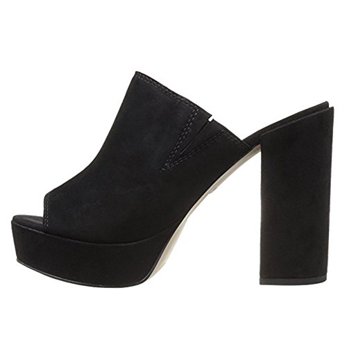 Women Peep Toe Slip On Mule Sueded Clog Platform Block Chunky Heel ...
