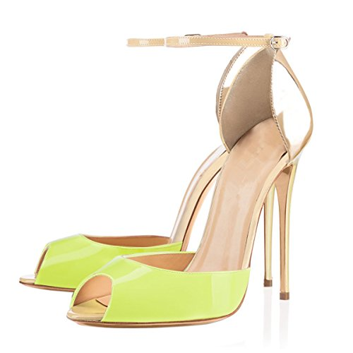 Women-Stiletto-Heels-Sandals-with-Ankle-Straps-Open-Toe-Shoes-Light-Green-with-Gold-Size-95-0
