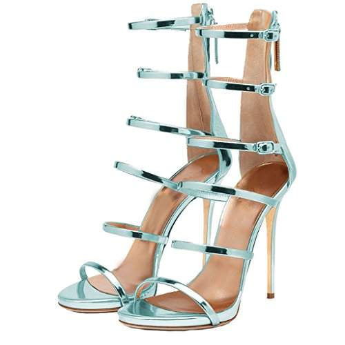 Women-Strappy-Gladiator-Sandals-Open-Toe-High-Heel-Stiletto-Shoes-Turquoise-Size-9-0