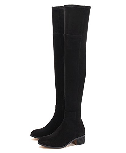 Guoar-Closed-toe-Square-Low-Heel-Over-the-Knee-Thigh-High-Lace-Black-Microsuede-Stretch-Boots-us7-0-0