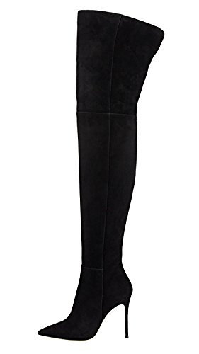 Guoar-Women-Pointed-Toe-Stiletto-Heels-Over-The-Knee-Black-Microsuede-Stretch-Boots-us7-0