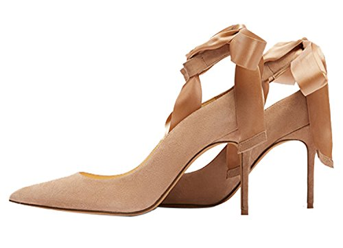Guoar-Womens-Ankle-Strappy-Pointed-Toe-High-Heels-Comfort-Stiletto-Lace-Up-Pumps-Dress-Shoes-size-5-12-Khaki-US-105-0-0
