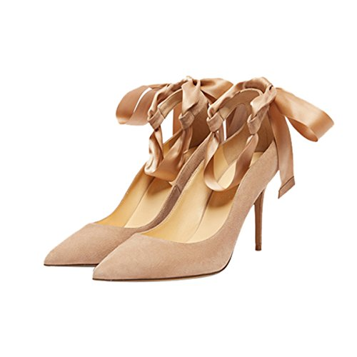 Guoar-Womens-Ankle-Strappy-Pointed-Toe-High-Heels-Comfort-Stiletto-Lace-Up-Pumps-Dress-Shoes-size-5-12-Khaki-US-105-0-1