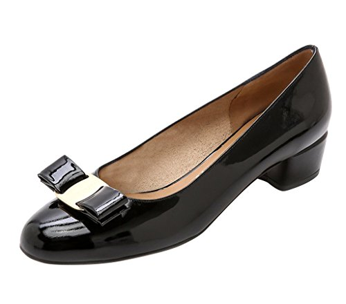 Guoar-Womens-Closed-Toe-Block-Heels-Patent-Bowknot-Pumps-Shoes-Low-Heels-For-Dress-Party-Black-US-12-0-0
