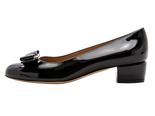 Guoar-Womens-Closed-Toe-Block-Heels-Patent-Bowknot-Pumps-Shoes-Low-Heels-For-Dress-Party-Black-US-12-0