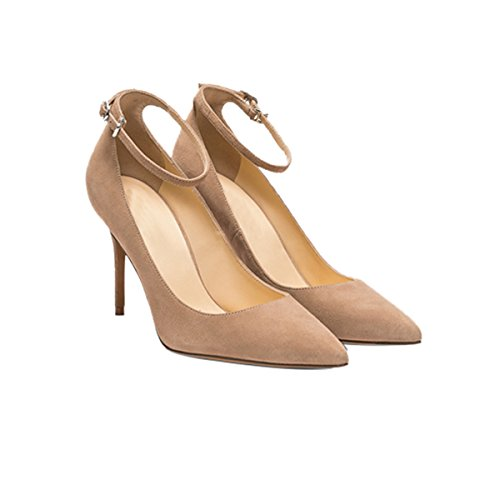Guoar-Womens-Comfort-Pointed-Toe-High-Heel-Shoes-Stiletto-Pumps-Buckle-Ankle-Strap-size-5-12-Nude-US-9-0-0
