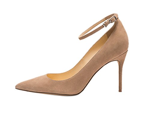 Guoar-Womens-Comfort-Pointed-Toe-High-Heel-Shoes-Stiletto-Pumps-Buckle-Ankle-Strap-size-5-12-Nude-US-9-0