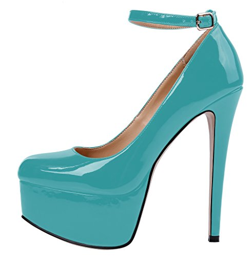 Guoar-Womens-Court-Shoes-High-Heel-Big-Size-Ankle-Strap-Shoes-with-Platform-Patent-Pumps-for-Wedding-Party-Dress-Green-US7-0