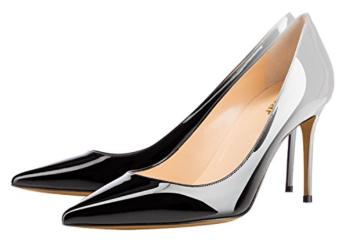 Guoar-Womens-Flattering-Gradient-Pointed-Toe-High-Heels-Stiletto-Grossy-Pumps-Dress-Shoes-size-5-12-Black-Grey-US-95-0-1