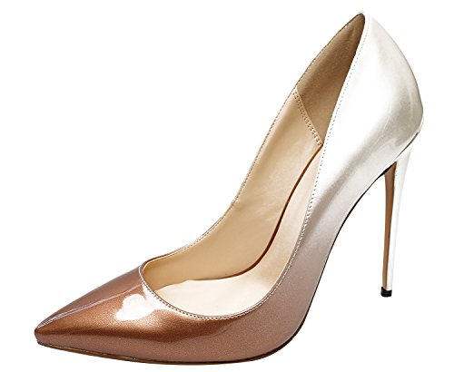Guoar-Womens-Gradient-Shallow-Pointed-Toe-High-Heels-Gold-to-nude-Pumps-shoes-US6-0