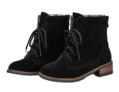 Guoar-Womens-Low-Mid-Heel-Flats-Shoes-Bootie-Big-Size-Lace-Up-Round-Toe-Zip-Ankle-Boots-for-Wedding-Party-Dress-Black-US13-0-0