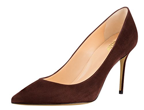 Guoar-Womens-Pointed-Toe-High-Heel-Shoes-Stiletto-Comfort-Suede-Pumps-Dress-Shoes-size-5-12-Coffee-US-6-0