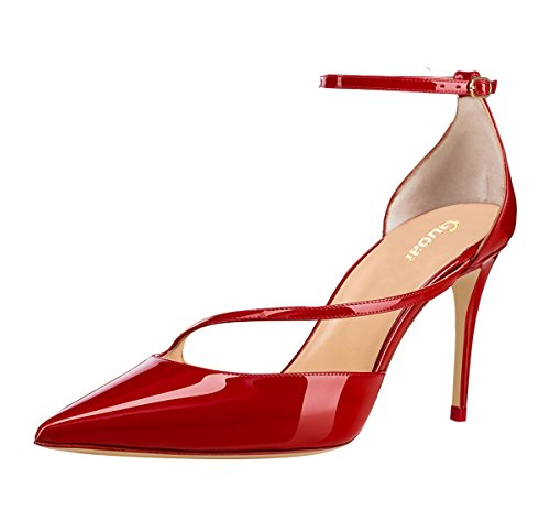 Guoar-Womens-Pointed-Toe-High-Heel-Shoes-Stiletto-Pumps-Strappy-Ankle-Strap-size-5-12-Red-US-5-0