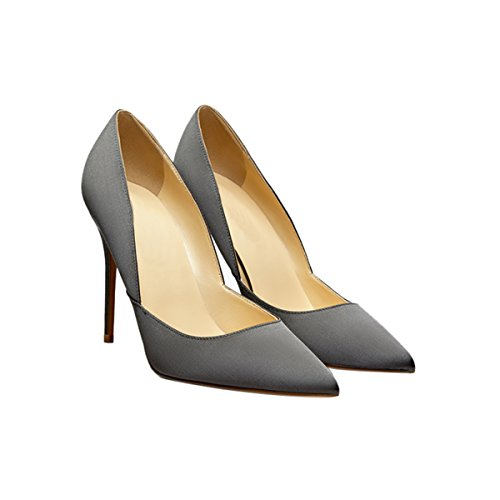 Guoar-Womens-Pointed-Toe-High-Heel-Shoes-Stiletto-Pumps-V-Cut-Dress-Shoes-size-5-12-Gun-Satin-US-8-0-0