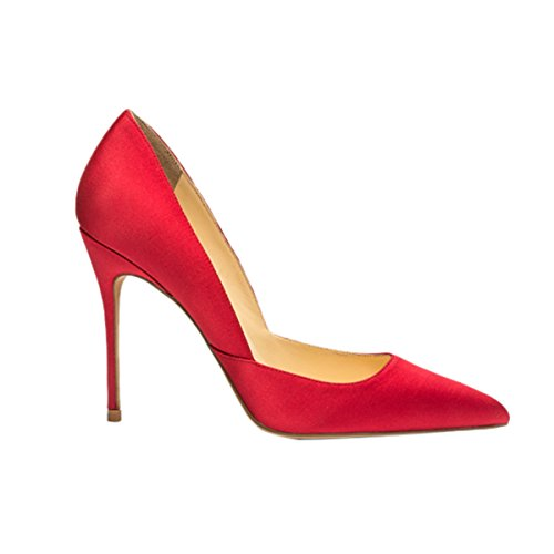 Guoar-Womens-Pointed-Toe-High-Heel-Shoes-Stiletto-Pumps-V-Cut-Dress-Shoes-size-5-12-Red-Satin-US-9-0