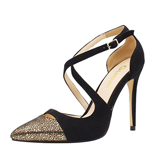 Guoar-Womens-Pointed-Toe-High-Heels-Cross-Strap-Sandals-Cut-out-Pumps-Shoe-Black-and-Gold-US-8-0-0