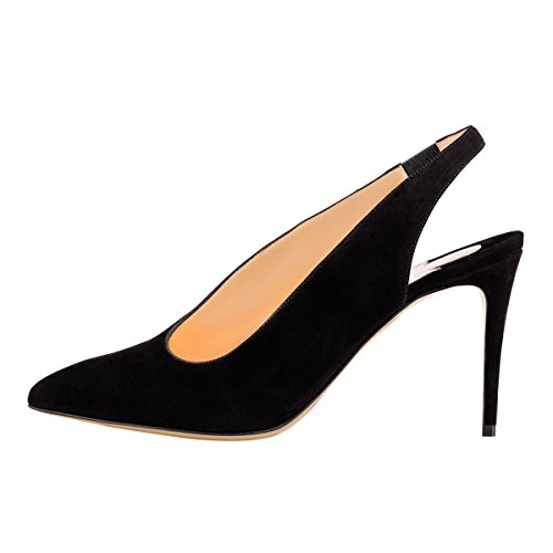 Guoar-Womens-Pointed-Toe-High-Heels-Stiletto-Slingback-Pumps-Evening-Shoes-size-5-12-Black-US-5-0