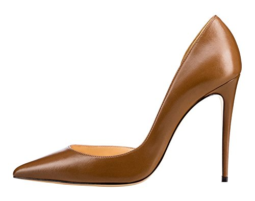 Guoar-Womens-Pointy-Toe-Stiletto-High-Heesl-DOrsay-Pumps-Party-Wedding-Prom-Dress-Shoes-size-5-12-Brown-PU-US-8-0-0