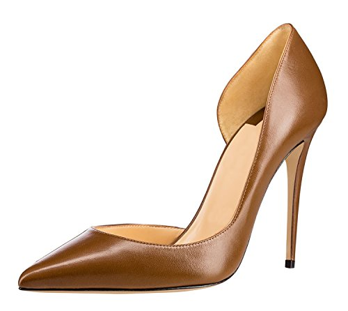 Guoar-Womens-Pointy-Toe-Stiletto-High-Heesl-DOrsay-Pumps-Party-Wedding-Prom-Dress-Shoes-size-5-12-Brown-PU-US-8-0