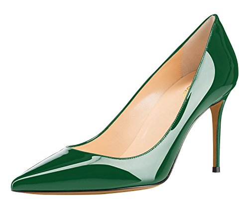 Guoar-Womens-Sexy-Pointed-Toe-Shallow-85CM-High-Heel-Pumps-Green-Shoes-US95-0