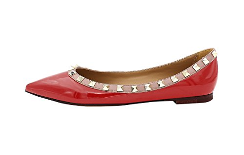 Guoar-Womens-Sexy-Rivets-Stud-Buckle-Shallow-Mouth-Pointed-Toe-Flat-Red-Pump-Shoes-US14-0
