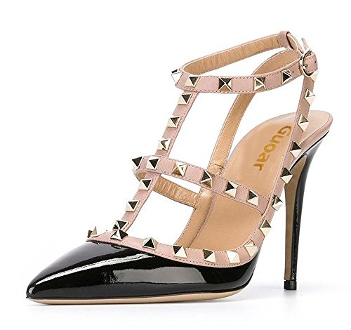 Guoar-Womens-Stiletto-Heel-Big-Size-Court-Shoes-Gladiator-Studded-Pointed-Toe-Ankle-Strap-Cut-out-Pump-Black-US5-0-0