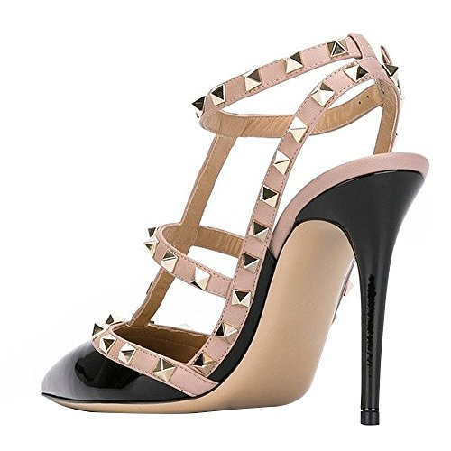 Guoar-Womens-Stiletto-Heel-Big-Size-Court-Shoes-Gladiator-Studded-Pointed-Toe-Ankle-Strap-Cut-out-Pump-Black-US5-0-1