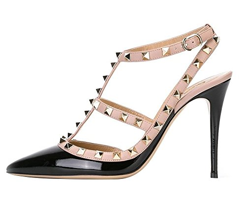 Guoar-Womens-Stiletto-Heel-Big-Size-Court-Shoes-Gladiator-Studded-Pointed-Toe-Ankle-Strap-Cut-out-Pump-Black-US5-0