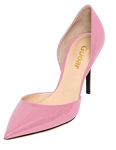Guoar-Womens-Stiletto-Heel-Sandals-Big-Size-Solid-Shoes-Pointed-Toe-DOrsayTwo-Piece-Patent-Pumps-for-Wedding-Party-Dress-Pink-US6-0-0