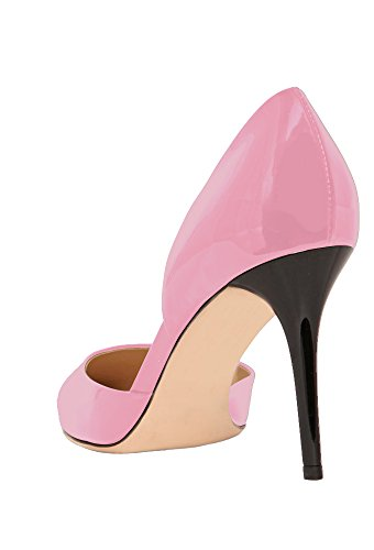 Guoar-Womens-Stiletto-Heel-Sandals-Big-Size-Solid-Shoes-Pointed-Toe-DOrsayTwo-Piece-Patent-Pumps-for-Wedding-Party-Dress-Pink-US6-0-1