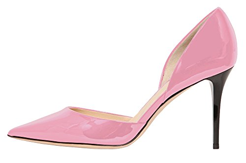 Guoar-Womens-Stiletto-Heel-Sandals-Big-Size-Solid-Shoes-Pointed-Toe-DOrsayTwo-Piece-Patent-Pumps-for-Wedding-Party-Dress-Pink-US6-0