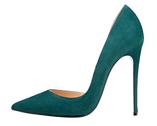 Guoar-Womens-Stiletto-Heels-Sandals-Big-Size-Solid-Shoes-Pointed-Toe-DOrsayTwo-Piece-Pumps-for-Wedding-Party-Dress-Green-US15-0