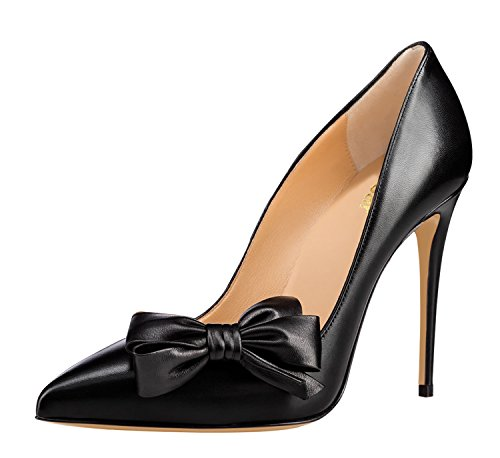 Guoar-Womens-Stiletto-Pointed-Toe-High-Heels-Pumps-Bowknot-Dress-Prom-Shoes-size-5-12-US-Black-PU-US-6-0