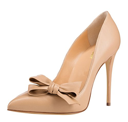 Guoar-Womens-Stiletto-Pointed-Toe-High-Heels-Pumps-Bowknot-Dress-Prom-Shoes-size-5-12-US-Nude-US-7-0