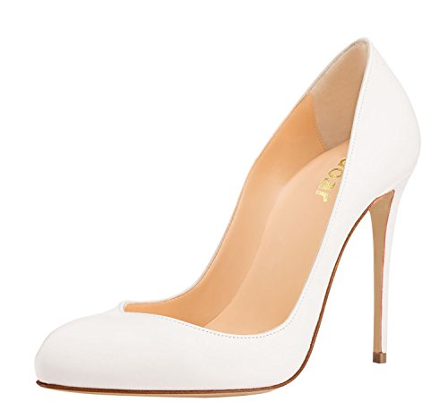 Guoar-Womens-Stiletto-Round-Toe-High-Heels-Pumps-V-cut-Top-Prom-Party-Dress-Shoes-size-5-12-US-White-US-115-0