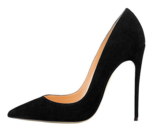 Guoar-womens-Pointed-Toe-High-Heels-Black-Suede-Pumps-Shoes-for-Party-Banquet-Shoes-size-5-12-US-95-0