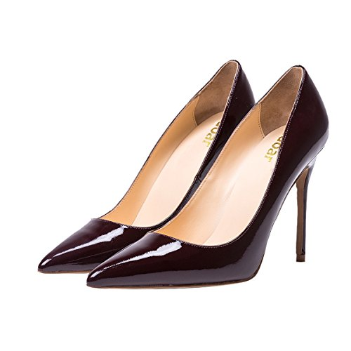 Guoar-womens-Pointed-toe-Shallow-Mouth-10CM-Stiletto-high-heel-Red-wine-pumps-Size-4-12-US-6-0-1