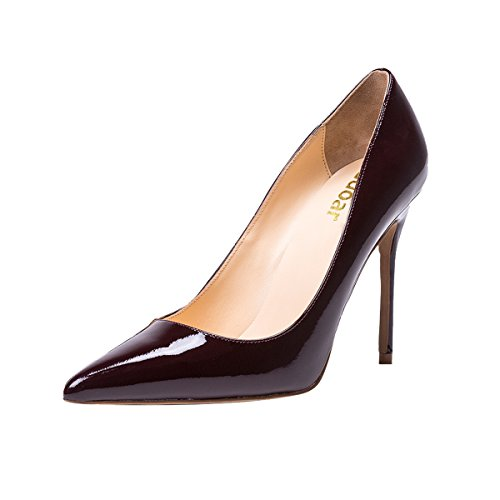 Guoar-womens-Pointed-toe-Shallow-Mouth-10CM-Stiletto-high-heel-Red-wine-pumps-Size-4-12-US-6-0