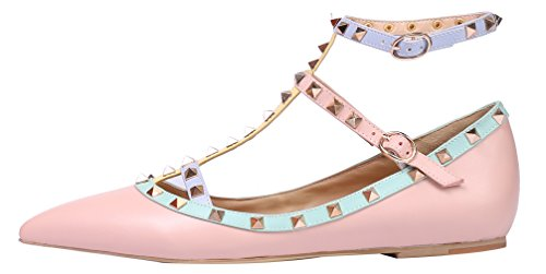 MONICOCO-Womens-Flat-Plus-Size-Punk-Studded-Shoes-Ankle-Strap-T-strap-Cut-out-Patent-Pump-Pink-8-BM-US-0